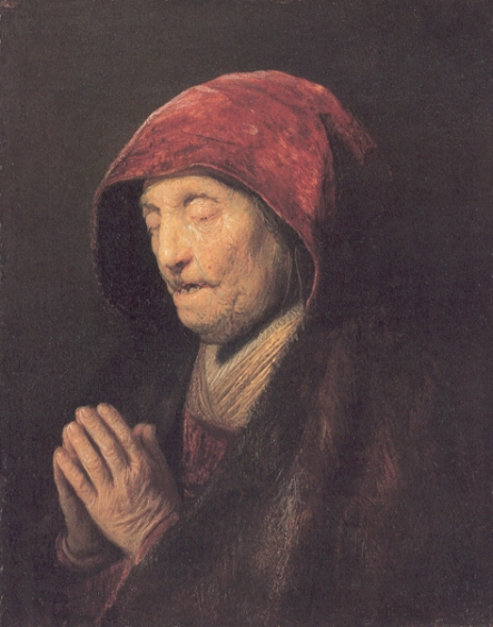 An Old Woman at Prayer -Rembrandt_