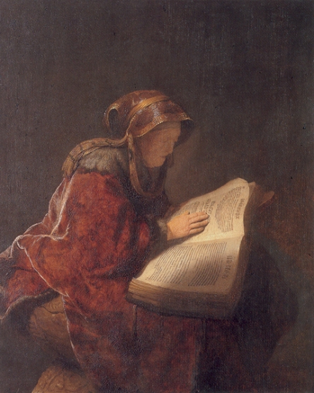 Rembrandt's Mother as the Prophetess Hannah -Rembrandt 1620-1635-