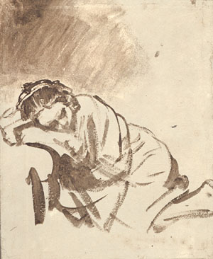 Saskia Sleeping - Rembrandt Drawing -